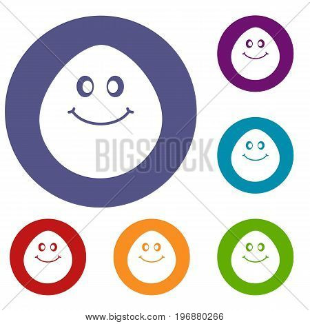 Smiling lime icons set in flat circle red, blue and green color for web