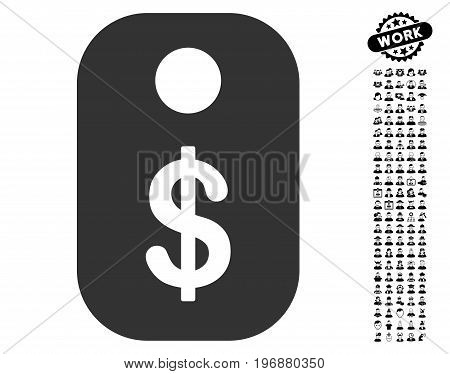Price Tag icon with black bonus professional pictograms. Price Tag vector illustration style is a flat gray iconic element for web design, app user interfaces.