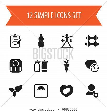 Set Of 12 Editable Lifestyle Icons. Includes Symbols Such As Leaf In Heart, Weight Measurement, Questionnaire And More