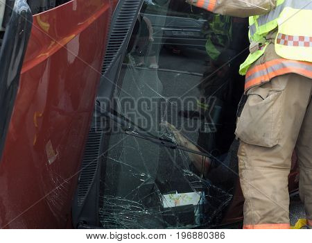 emergency on the road car accident vehicle damage crash rescue accident