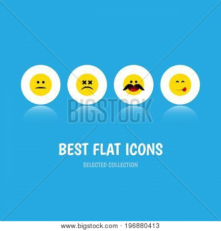 Flat Icon Expression Set Of Cross-Eyed Face, Displeased, Delicious Food And Other Vector Objects