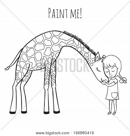 Girl and giraffe. Girl hugging a giraffe. Vector illustration of hand-drawn. Coloring book for adults and children.