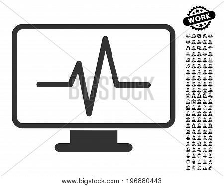 Pulse Monitoring icon with black bonus men images. Pulse Monitoring vector illustration style is a flat gray iconic element for web design, app user interfaces.