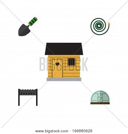 Flat Icon Garden Set Of Hothouse, Hosepipe, Trowel And Other Vector Objects