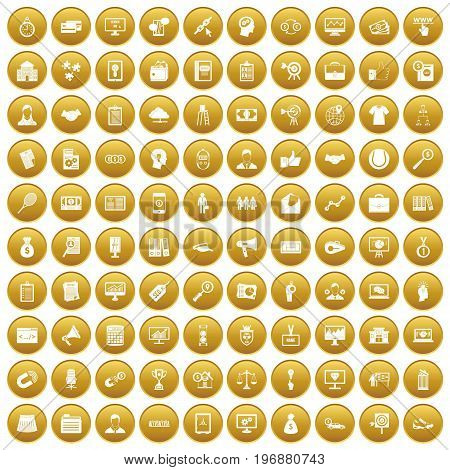 100 partnership icons set in gold circle isolated on white vector illustration