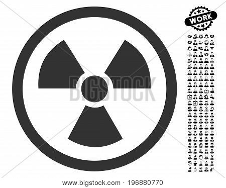 Radiation Danger icon with black bonus men graphic icons. Radiation Danger vector illustration style is a flat gray iconic symbol for web design, app user interfaces.