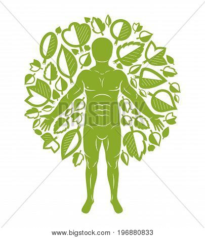 Vector illustration of human being standing on white background and made using natural green leaves. Greenman pagan god metaphor.