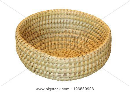 trellis round basket isolated on white background handmade object for your design