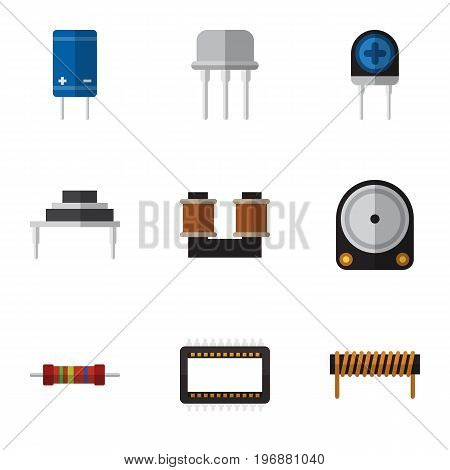 Flat Icon Technology Set Of Mainframe, Coil Copper, Resistance And Other Vector Objects