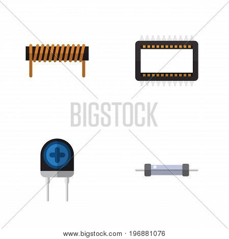 Flat Icon Technology Set Of Mainframe, Transducer, Resistor And Other Vector Objects