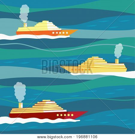 Ships on waves. Large ships on the waves.