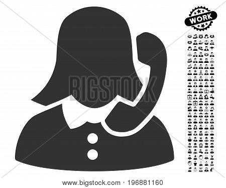 Receptionist icon with black bonus professional images. Receptionist vector illustration style is a flat gray iconic symbol for web design, app user interfaces.