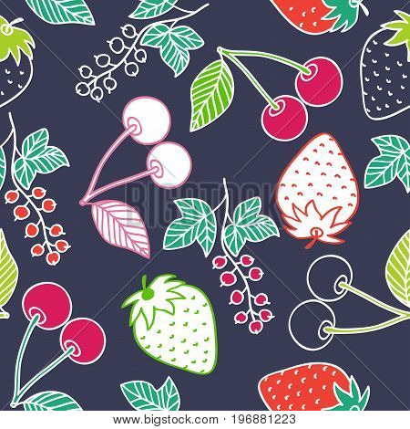 Juicy berries seamless pattern. Bright colorful cherry, strawberry and currant on dark background. Vector image drawn by hand in Doodle style.