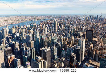 NEW YORK - JULY 02 2016: Aerial view of the Manhattan skyline, New York City
