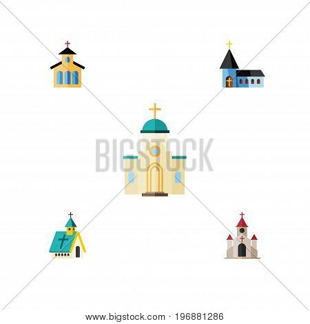 Flat Icon Christian Set Of Religious, Catholic, Traditional And Other Vector Objects