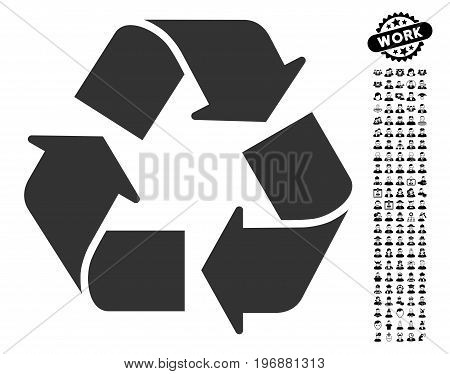Recycle icon with black bonus job symbols. Recycle vector illustration style is a flat gray iconic symbol for web design, app user interfaces.