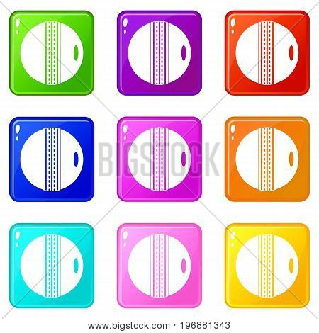 Black and white cricket ball icons of 9 color set isolated vector illustration