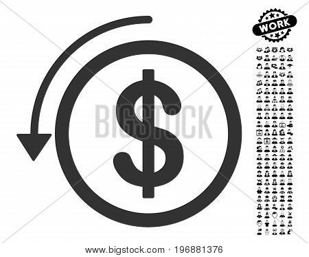 Refund icon with black bonus job design elements. Refund vector illustration style is a flat gray iconic element for web design, app user interfaces.