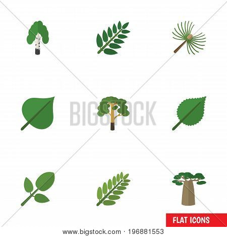 Flat Icon Bio Set Of Timber, Wood, Acacia Leaf And Other Vector Objects