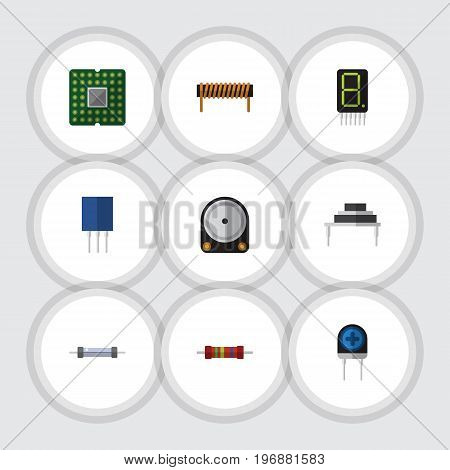 Flat Icon Appliance Set Of Hdd, Resistor, Receptacle And Other Vector Objects