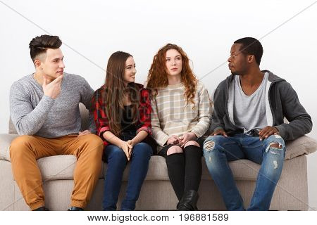 Happy young multiethnic people, friends in casual talking, leisure and party time
