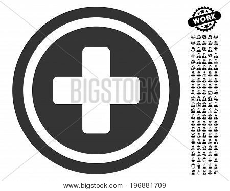 Rounded Cross icon with black bonus people graphic icons. Rounded Cross vector illustration style is a flat gray iconic symbol for web design, app user interfaces.