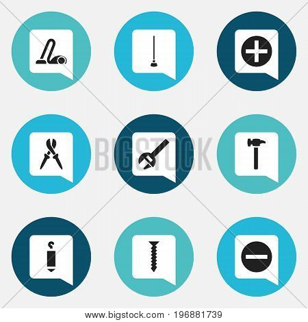 Set Of 9 Editable Equipment Icons. Includes Symbols Such As Minus, Pliers, Plus And More