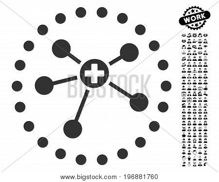 Rounded Medical Connections icon with black bonus profession pictograms. Rounded Medical Connections vector illustration style is a flat gray iconic symbol for web design, app user interfaces.