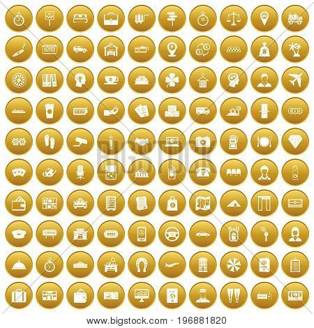 100 paying money icons set in gold circle isolated on white vector illustration