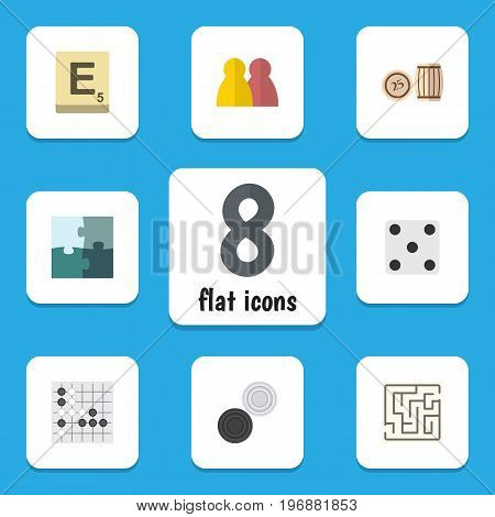 Flat Icon Games Set Of Jigsaw, People, Mahjong And Other Vector Objects