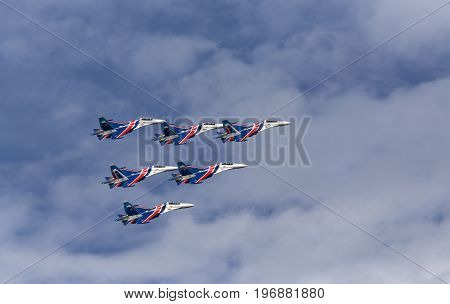 Aerobatic team performs flight at air show. Russia Moscow Airshow in July 2017