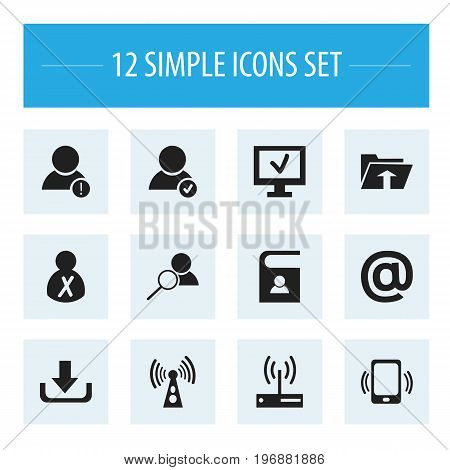 Set Of 12 Editable Web Icons. Includes Symbols Such As Magnifier, Mail Symbol, Error Account And More