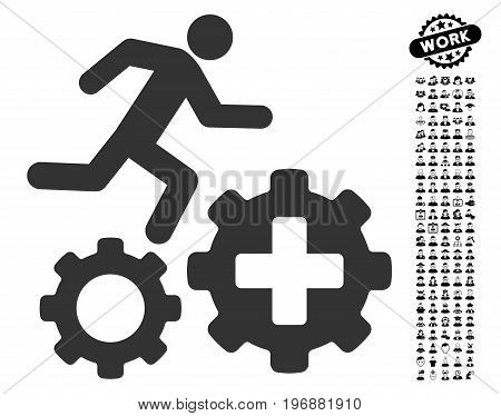 Runner Treatment Process Gears icon with black bonus profession symbols. Runner Treatment Process Gears vector illustration style is a flat gray iconic element for web design, app user interfaces.
