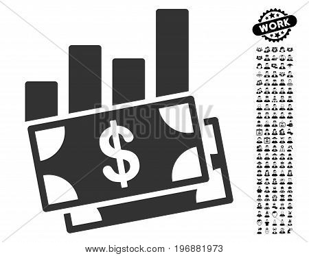 Sales Bar Chart icon with black bonus work symbols. Sales Bar Chart vector illustration style is a flat gray iconic element for web design, app user interfaces.
