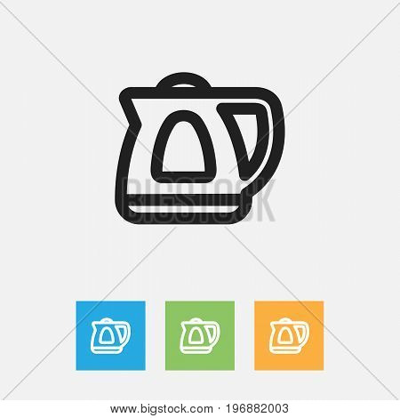 Vector Illustration Of Meal Symbol On Electric Kettle Outline