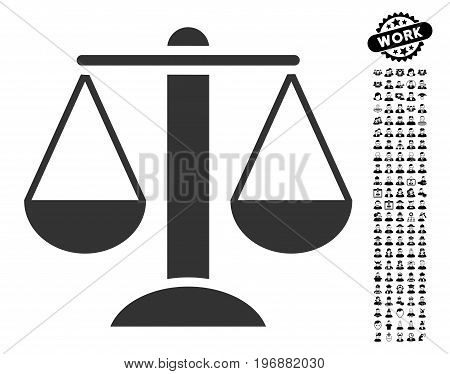 Scales icon with black bonus job pictures. Scales vector illustration style is a flat gray iconic symbol for web design, app user interfaces.