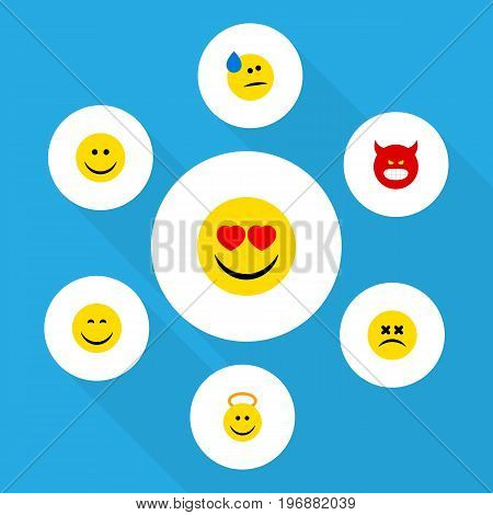 Flat Icon Face Set Of Cross-Eyed Face, Pouting, Smile And Other Vector Objects