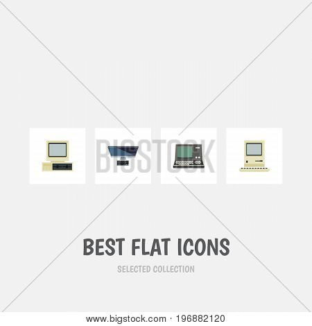Flat Icon Laptop Set Of Technology, PC, Computer And Other Vector Objects