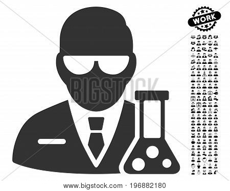 Scientist icon with black bonus profession design elements. Scientist vector illustration style is a flat gray iconic element for web design, app user interfaces.