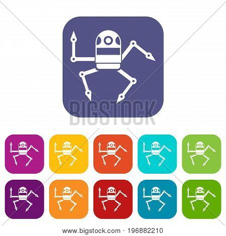 Spider robot icons set vector illustration in flat style in colors red, blue, green, and other