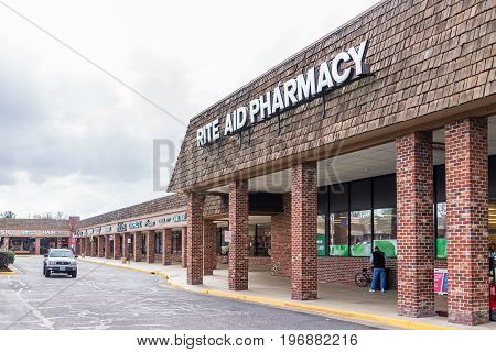 Burke, Usa - February 15, 2017: Rite Aid Pharmacy Store Exterior