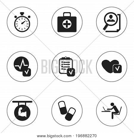 Set Of 9 Editable Complicated Icons. Includes Symbols Such As Heartbeat, Biceps, Search And More