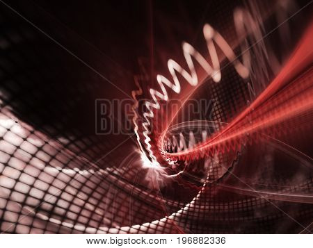 Abstract red background element. Grids and curves series. Fractal graphics. Composition of net shapes, curves, motion blur and waveforms.
