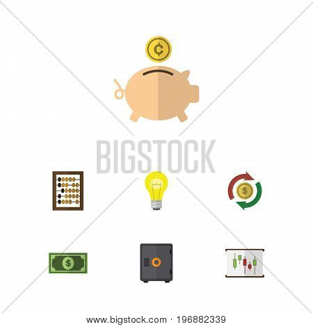 Flat Icon Incoming Set Of Counter, Strongbox, Money Box And Other Vector Objects