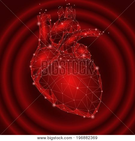 Human Heart Beats Internal Organ Triangle Low Poly. Connected dots red color impulse technology 3d model medicine healthy body part vector illustration art