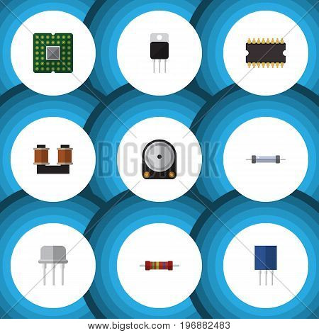 Flat Icon Electronics Set Of Hdd, Resistance, Unit And Other Vector Objects