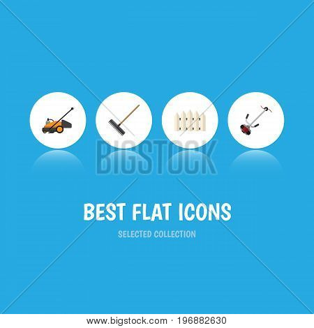 Flat Icon Garden Set Of Harrow, Wooden Barrier, Lawn Mower And Other Vector Objects