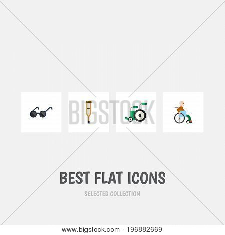 Flat Icon Handicapped Set Of Stand, Handicapped Man, Equipment Vector Objects