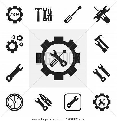 Set Of 12 Editable Mechanic Icons. Includes Symbols Such As Wrench, Service, Wrench Hammer And More