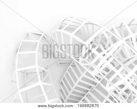 Abstract Digital Background, White Wire-frame 3 D